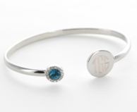 Silver Monogrammed Birthstone Bangle Bracelet