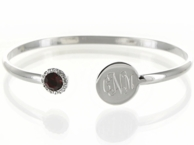 Silver Monogrammed Birthstone Bangle Bracelet - JULY (Ruby)
