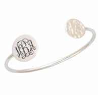 Silver Monogrammed Hammered Bangle Bracelet