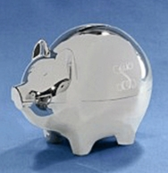 Silver Personalized Piggy Bank