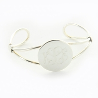 Silverplated Monogram Round Cuff Bracelet