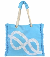 Sky Blue Knot Rope Handle Beach Tote