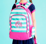 Skylar Mint Stripe Monogrammed Backpack