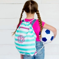 Skylar Stripe Monogrammed Drawstring Backpack
