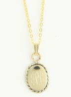 Small Braided Oval Monogram Gold Necklace