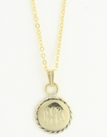 Small Braided Round Gold Monogram Necklace