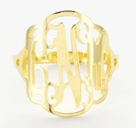 Scallop Border Goldfilled Floating Monogram Ring