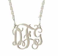 Small Sterling Silver Filigree Monogram Necklace