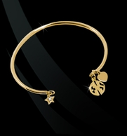 Smooth Wire Bangle Bracelet with ROUND Monogram Charm