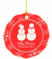 Snowmen Personalized Holiday Christmas Ornament