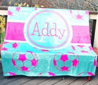 Soccer Pink & Blue Personalized Fleece Throw Blanket