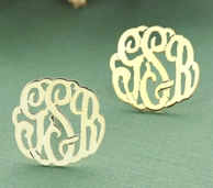 SOLID 14kt Gold Cut Monogram Post Earrings