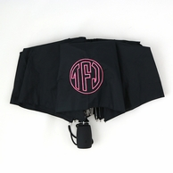 Solid Black Monogrammed Umbrella
