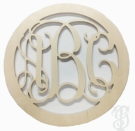 Solid Circle Border Wood Wall Monogram - UNFINISHED - CHOOSE YOUR SIZE