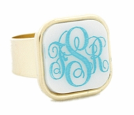 Square Monogram Adjustable Bezel Set Acrylic Ring - CHOOSE YOUR COLORS