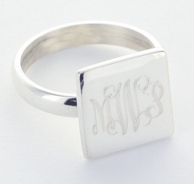 Square Monogrammed Sterling Silver Ring