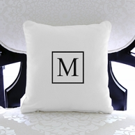 Square Or Dots Initial Personalized Throw Pillow - CHOOSE YOUR THREAD COLOR!