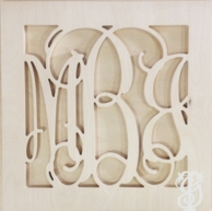 Square Solid Border Script Wood Wall Monogram - UNFINISHED - CHOOSE YOUR SIZE
