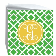 Squares Monogrammed Sticky Note Cube - CHOOSE YOUR COLORS
