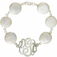 Sterling Silver Coin Pearl Initial Bracelet