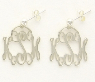 Sterling Silver Custom Cut Filigree Monogrammed Medium Earrings