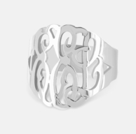 Sterling Silver Custom Cut Monogram Ring