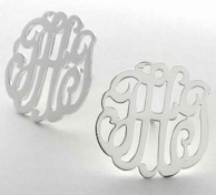 Sterling Silver Cut Monogram Post Earrings