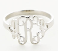 Sterling Silver Cut Monogram Ring