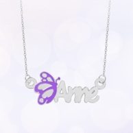 Sterling Silver Kids Name Necklace with Purple Butterfly