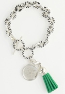 Sterling Silver Monogram Tassel Bracelet - CHOOSE YOUR TASSEL COLOR