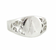Sterling Silver Monogrammed Fancy Signet Ring