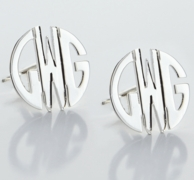 Sterling Silver or Gold Round Monogram Earrings