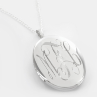 Sterling Silver Oval Monogram Locket Necklace