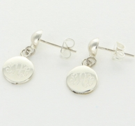 Sterling Silver Post Monogrammed Circle Earrings
