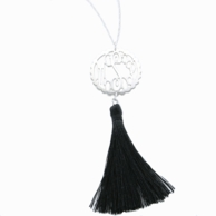 Sterling Silver Scallop Monogram Necklace wtih Tassel Accent