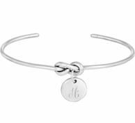 Sterling Silver Script Monogram Forget Me Knot Bangle Bracelet