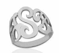 Sterling Silver Thick Custom Cut Monogram Ring