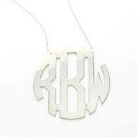 Sterling Silver XL Round Monogram Necklace