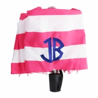 Strawberry Pink Stripes Monogrammed Umbrella