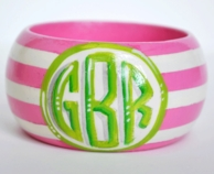 Stripes Single Monogrammed Wood Bangle Bracelet
