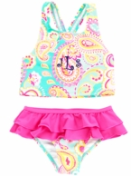 Summer Paisley Girls Monogrammed Swimsuit Set