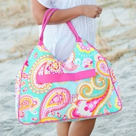 Summer Paisley Monogrammed Beach Bag