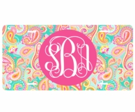 Summer Paisley Monogrammed Car Tag License Plate