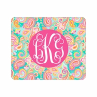 Summer Paisley Monogrammed Mouse Pad