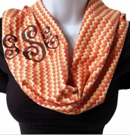 Sunset Chevron Lightweight Monogram Infinity Scarf