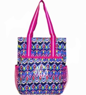 Sunset Ikat Monogrammed Tall Tennis Tote