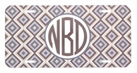 Tan Ikat Diamonds Monogrammed Car Tag