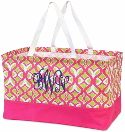 Tango Twist Pink & Green Monogrammed Utility Tote