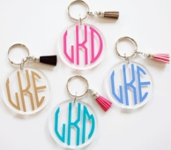 Tassel Monogrammed Acrylic Keychain - CHOOSE YOUR COLORS!