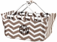Taupe Chevron Personalized Market Basket